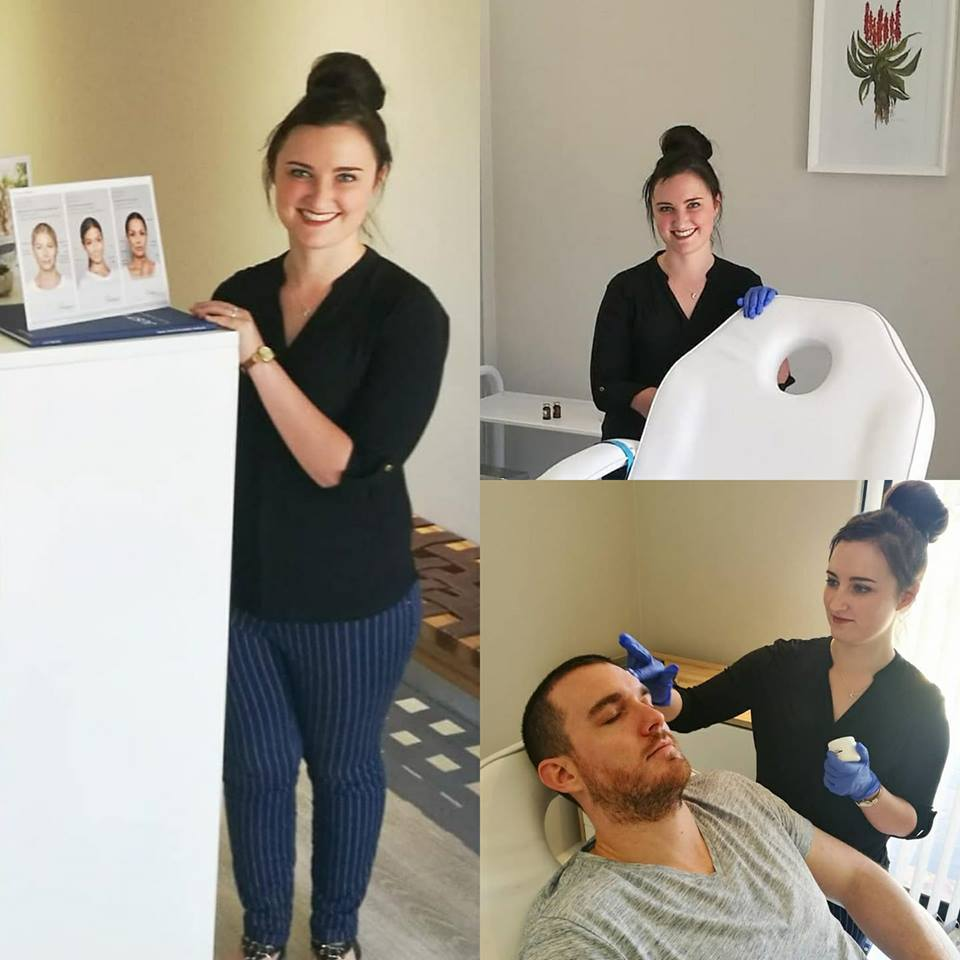 Our Dermapen Therapist in Somerset West, Marieka Slabber. Here, performing a Dermapen Treatment on Dr Wade.