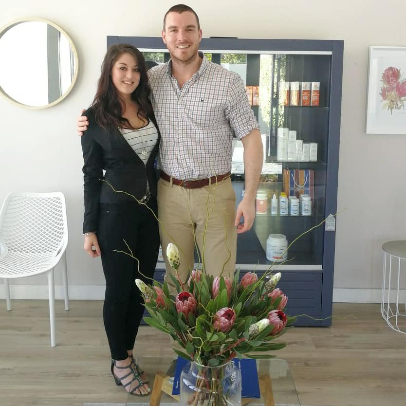 Lumé Heyns, our Skincare Therapist, also based in Green Point Cape Town. Pictured here with Dr Wade.